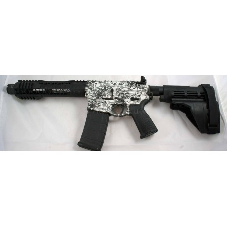 "Black Rain 7.5"" 5.56 AR15 Pistol Black & White Digital Camo with Sig Sauer SB15 Pistol Brace and Noveske KX3 Pig"