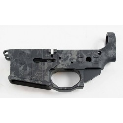 Black Rain AR15 Stripped Anodized Skulls Billet Lower
