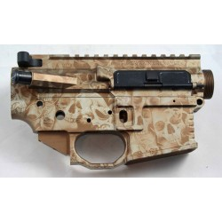 Black Rain AR15 Billet Lower / Upper Set - Tan Anodized Skulls