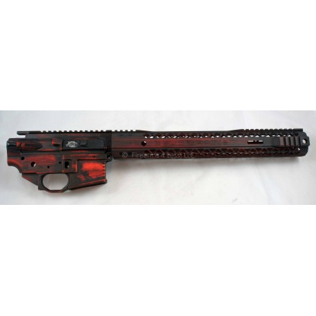 Black Rain Battleworn AR15 Billet Lower / Upper Set - Orange/Black