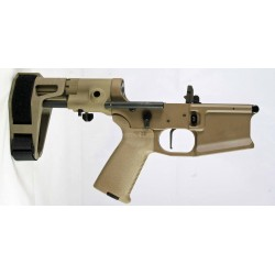 SMOS GFY-15 Complete Billet AR15 Lower w/ Maxim Pistol Brace - FDE