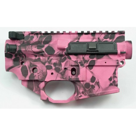 Black Rain Ordnance FALLOUT15 AR15 Billet Lower / Upper Set - Pink Skulls