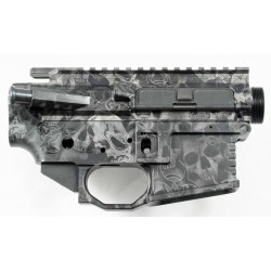 Black Rain AR15 Billet Lower / Upper Set - Anodized Skulls