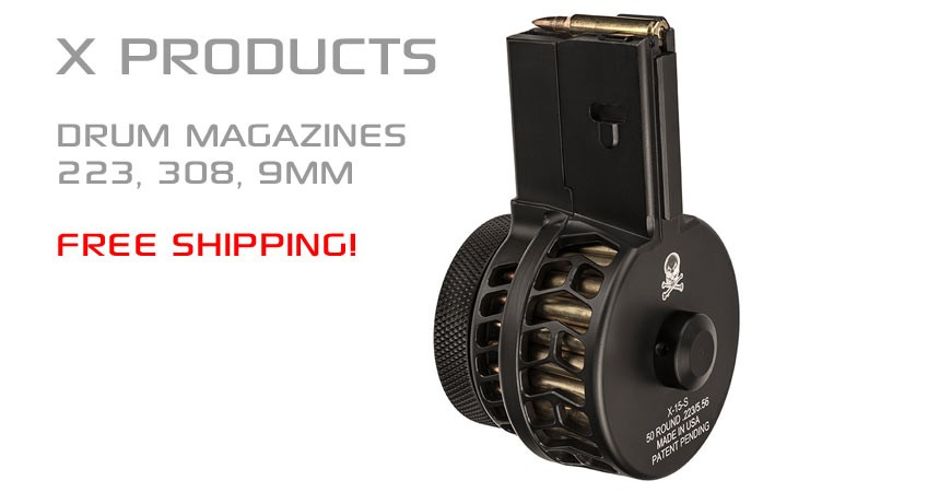 X Products 50 round drum magazines for 223, 308, 9mm AR15 and 308 AR