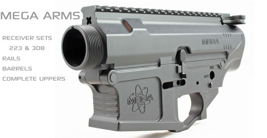 Mega Arms billet receiver sets, barrels, rails, and complete uppers