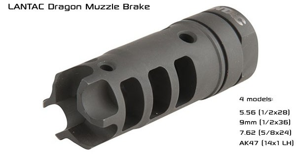LANTAC Dragon Muzzle Brake for AR15, 9mm, 308 AR, and AK47
