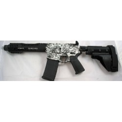 "Black Rain 7.5"" 5.56 AR15 Pistol Black & White Digital Camo with Sig Sauer SB15 Pistol Brace and Noveske KX3 Pig"