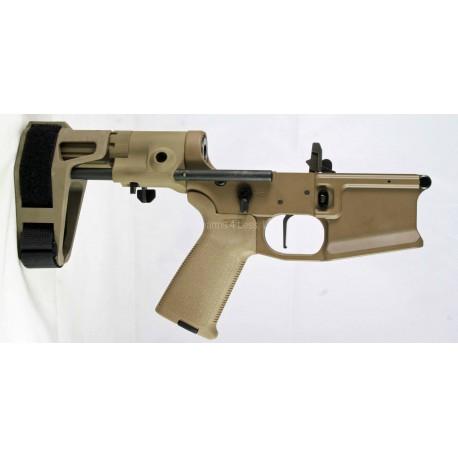 SMOS GFY-15 Complete Billet AR15 Pistol lower w/ Maxim Brace - FDE